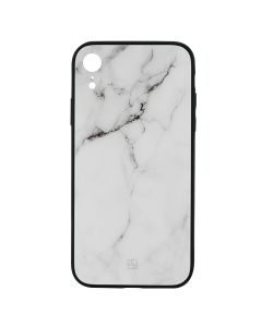 Carcasa iPhone XR Just Must Glass Print White Marble