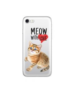 Husa iPhone 8 / 7 Lemontti Silicon Art Meow With Love