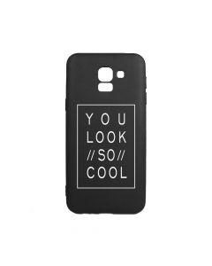 Husa Samsung Galaxy J6 (2018) Lemontti Silicon Black Silky Art You Look So Cool White
