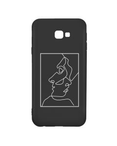 Husa Samsung Galaxy J4 Plus Lemontti Silicon Black Silky Art Abstract Love White