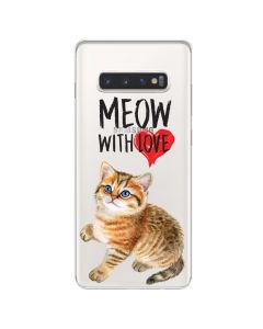 Husa Samsung Galaxy S10 Plus G975 Lemontti Silicon Art Meow With Love