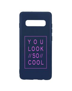 Husa Samsung Galaxy S10 Plus G975 Lemontti Silicon Blue Silky Art You Look So Cool Magenta