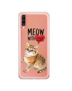 Husa Samsung Galaxy A70 Lemontti Silicon Art Meow With Love