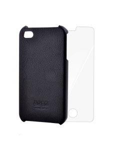 Carcasa iPhone 4/4S Hoco Piele Negru (folie inclusa)