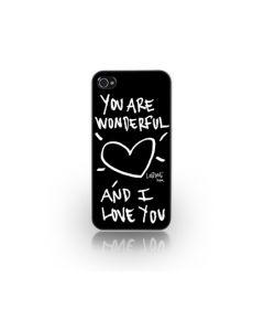 Carcasa iPhone 4/4S Lost Dog Slim Hard You Are Wonderful & I Love You Black