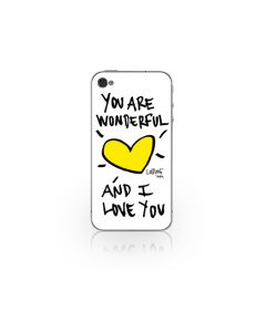 Folie iPhone 4/4S Lost Dog Design 3M Skin You Are Wonderfull & I Love You - White (folie ecran inclu