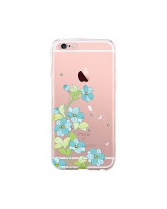 Husa iPhone 6/6S Devia Silicon Bluebell Blue (motiv floral cu cristale)