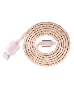 Cablu Lightning Devia Fashion MFI Rose Gold (licenta Apple, 1.2m, impletitura textila)