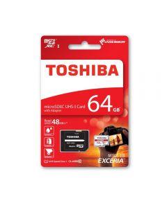 Card Memorie Toshiba Exceria MicroSDHC 64 GB Clasa 10 + Adaptor SD (48MB/s)